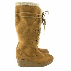 Michael Kors Neutral Suede Wedge Fur Boots Size 9